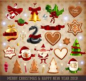 Christmas Icons and objects Set: Santa Claus, Snowman, Candy Cane, Gingerbread cookies, Snake, Mistl
