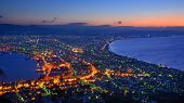 The dawn sky over the reknown view of Hakodate, Japan. The city was the first in Japan to open its p