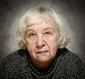 Senior woman portrait with white hair