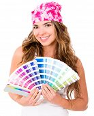 Woman with a Pantone - isolated over a white background