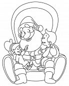 Outlined illustration of kids sitting on Santa lap. Coloring page.