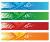 Set of four seasonal halftone digital banners