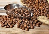 Coffee beans with stainless steel  scoop close-up on wooden table background