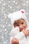 Winter, Christmas,  kid - portrait of lovely girl at Christmas time, cute teddy