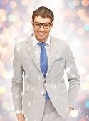 portrait picture of happy businessman in spectacles.