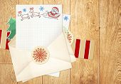 Christmas background with letter to Santa Claus