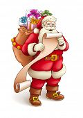 Santa Claus with sack full of gifts reading list of good kids. Vector illustration isolated on white
