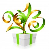 Vector green and gold ribbon in the shape of 2013 and gift box. Symbol of New Year