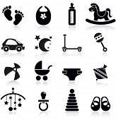 image of pacifier  - Baby icons set - JPG