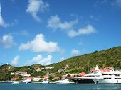 Mega yachts in Gustavia Harbor at St. Barts, French West Indies