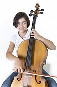 Young smiling cello player