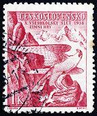 Postage Stamp Czechoslovakia 1938 Peregrine Falcon, Sokol Emblem