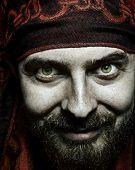 Closeup Portrait Of Funny Bizarre Spooky Man