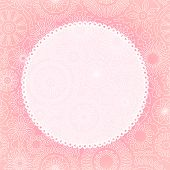 Delicate floral lace greeting card background for your text or image in pink, vector