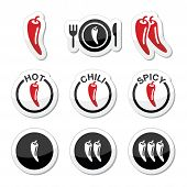 picture of cayenne pepper  - Vector red and black labels set of chili peppers isolated on white - JPG