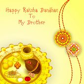 stock photo of pooja  - vector illustration of rakhi pooja thali for Raksha Bandhan - JPG