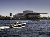 stock photo of copenhagen  - Royal opera house in Copenhagen harbor Denmark - JPG