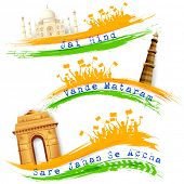 foto of ashok  - illustration of set of banner for colorful India with monument - JPG