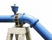pic of mortar-joint  - blue water supply pipeline was joint and hold with pedestal cement - JPG
