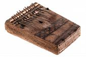 picture of idiophone  - an african instrument named Mbira that consists of a wooden board with attached staggered metal keys - JPG