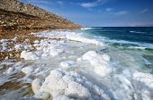 Dead Sea, Israel salt formations.