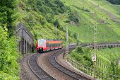 stock photo of moselle  - Train driving along vineyards near the river Moselle in Germany - JPG