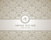 stock photo of emblem  - Vintage frame on damask background - JPG