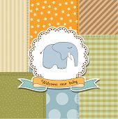 Baby Boy Announcement Card With Elephant