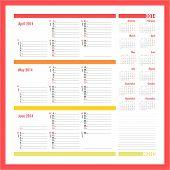 Vector Planner For 20134 -three Month Calendar