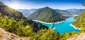 The Piva Canyon with its fantastic reservoir. Montenegro, Balkans, Europe. Beauty world.