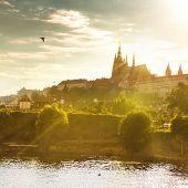 Vista do Castelo de Praga na sunset