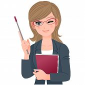 stock photo of eye-wink  - Female lecturer winking with pointer stick - JPG