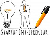 stock photo of entrepreneur  - Business plan drawing of entrepreneur startup idea light bulb - JPG