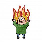 ogro flamejante retrô dos desenhos animados