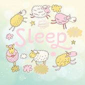 stock photo of baby sheep  - Funny sheep on clouds in vector card - JPG