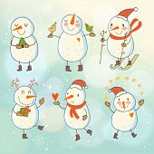 Bright Christmas set in vector. Cute funny snowmen in childish style. Winter concept card