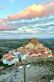 stock photo of ares  - Landscape mountain view with small old town Ares in Spain - JPG