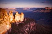 stock photo of three sisters  - The Three Sisters rock formation at sunset in the Blue Mountains New South Wales Australia