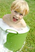Child In Bubbly Wash Basin
