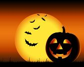 foto of bat  - Grinning pumpkin with bats on backgound halloween vector eps 10 - JPG