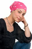 foto of breast-cancer  - Beautiful breast cancer survivor with bandanna  - JPG
