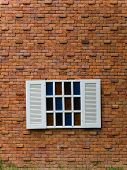 Fake White Window On Brick Wall