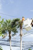 stock photo of cherry-picker  - Electrician worker in cherry picker solve palm leaf and protect a wire of the power line - JPG