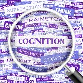 COGNITION. Concept vector illustration. Word cloud with related tags and terms. Graphic tag collecti