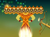 stock photo of ravan  - Indian festival Dussehra concept with illustration of Ravan with his ten heads in night background - JPG