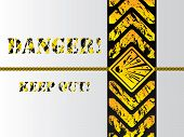 stock photo of raunchy  - Grunge danger background sign with grunge text - JPG