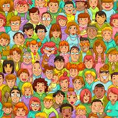 image of caricatures  - seamless pattern with cartoon people standing in a crowd - JPG