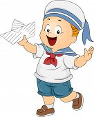 Illustration of a Boy Wearing a Sailor's Costume and Holding a Paper Boat