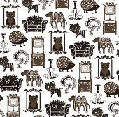 Seamless Animals and Furnitures Pattern 1