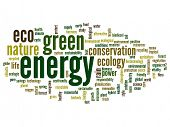 Concept or conceptual abstract green ecology and conservation word cloud text on white background, m